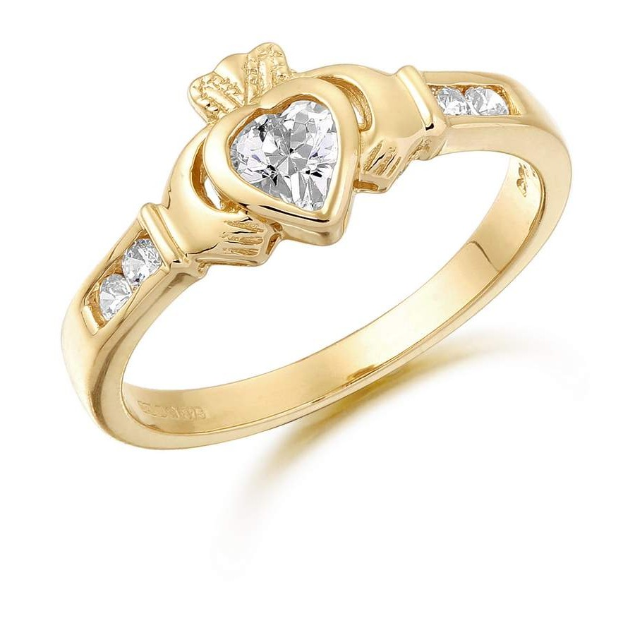 9k gold cz claddagh ring cl100