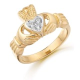 9K Gold CZ Claddagh Ring-CL15