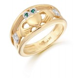 9K Gold CZ Claddagh Ring-CL21G