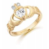 9K Gold CZ Claddagh Ring-CL25