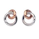Eternity Interlocking Stud Earrings Rose Gold Plate Accents