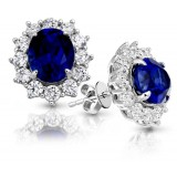 9ct Gold Sapphire CZ Earrings-MCE308WS