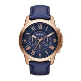 Gents Fossil Grant Chronograph Leather Watch - Blue FS4835