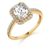 9ct Gold Laila Emerald Cut CZ Ring-MC11