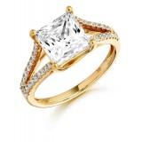 9ct Gold Princess cut Luxur CZ Ring-MC134