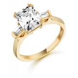 9ct Gold Emerald Cut CZ Ring-MC137