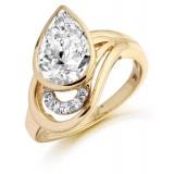 9ct Gold Pearet CZ Ring-MC282