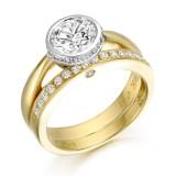 9ct Gold Bazet Ballet CZ Ring Set-R305
