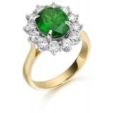 9ct Gold Lady Di Emerald CZ Ring-MC308G