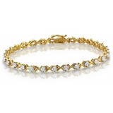 9ct Gold CZ Bracelet - B21