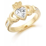 9K Gold CZ Claddagh Ring-CL102