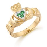 9K Gold CZ Claddagh Ring-CL15G