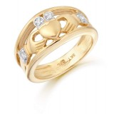 9K Gold CZ Claddagh Ring-CL21