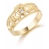 9K Gold Claddagh Ring-CL26