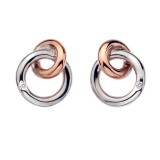 Eternity Interlocking Stud Earrings Rose Gold Plate Accents