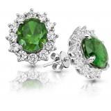 9ct Gold Emerald CZ Earrings-MCE308WG