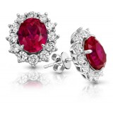 9ct Gold Ruby CZ Earrings-MCE308WR