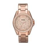 Ladies Fossil Riley Multifunction Stainless Steel Watch - Rose ES2811
