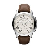 Gents Fossil Grant Chronograph Leather Watch - Brown FS4735