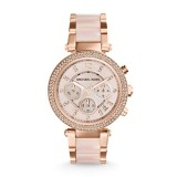 Ladies Michael Kors Parker Rose Gold Tone Blush Acetate Watch MK5896