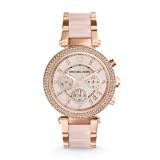 Ladies Michael Kors Parker Rose Gold Tone Blush Acetate Watch MK5896