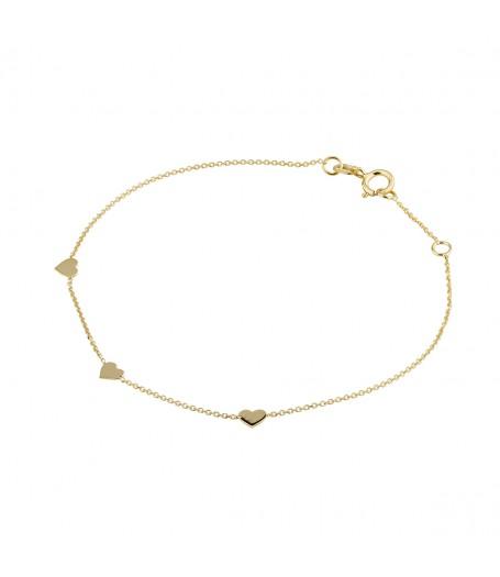 9ct 3 Heart Bracelet