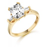 9ct Gold Emerald Cut CZ Ring-MC137
