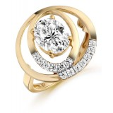 9ct Gold Ovalier CZ Ring-MC284