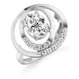 9ct Gold Ovalier CZ Ring-MC284W