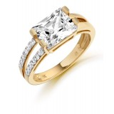 9ct Gold Rectang CZ Ring-MC285