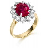 9ct Gold Lady Di Ruby CZ Ring-MC308R