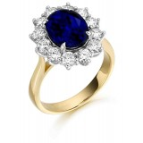9ct Gold Lady Di Sapphire CZ Ring-MC308S