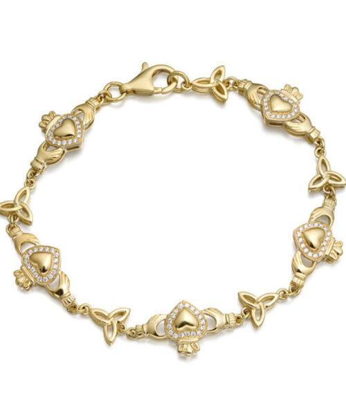 9ct Gold CZ Claddagh Bracelet - CLB32